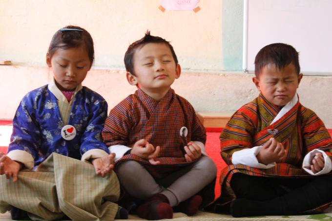 ECCD children during a meditation class at the ECCD center