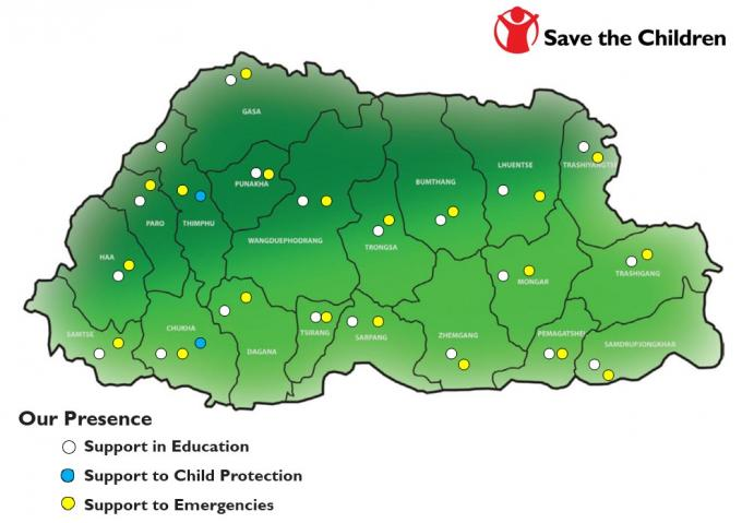 Save the Children Bhutan Coverage Map