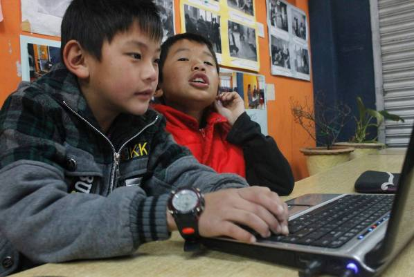 Children in computer class at the Youth Center